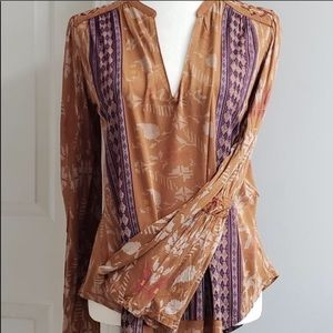 🆕✨ Lucky Brand Blouse Rust Multi Size S/P